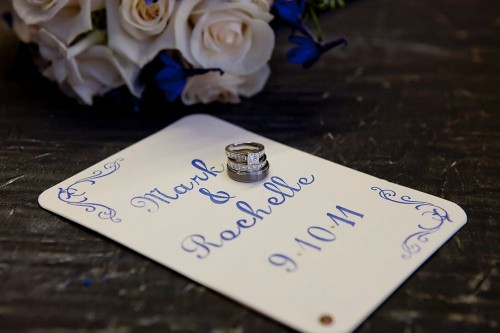 For the programs I handstamped each letter and flourish with royal blue
